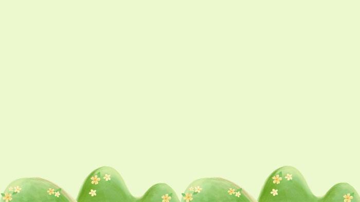 四张绿色水彩插画PPT背景图片