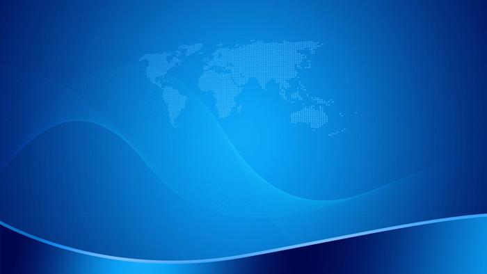蓝色渐变地图背景的商务PPT背景图片