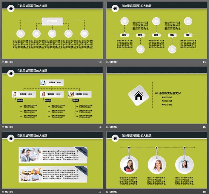 绿色翻页效果创业融资计划书PPT模板