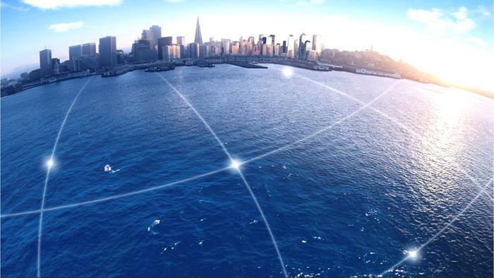 三张海滨城市PPT背景图片