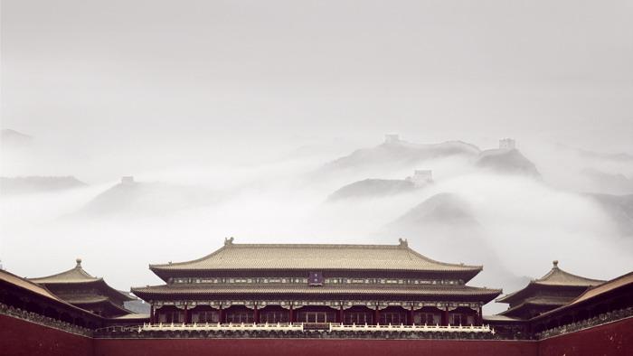 五张精致中国古建筑PPT背景图片