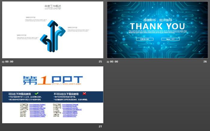 蓝色集成电路背景的科技行业PPT模板 - 第一PPT