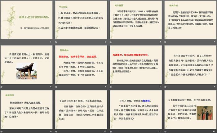 《南乡子·登京口北固亭有怀》PPT课件下载