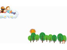 五张可爱卡通PPT背景图片