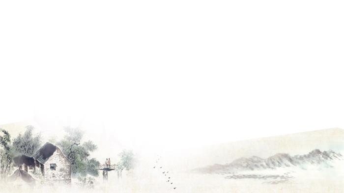 三张水墨乡村建筑PPT背景图片