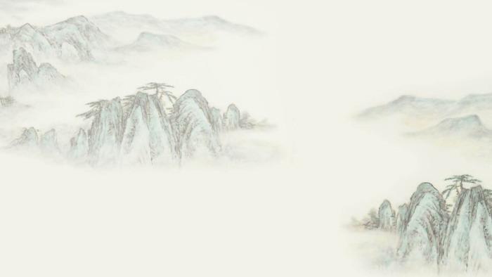 淡雅水墨山水群山PPT背景图片