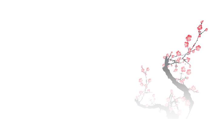 三张水墨群山梅花PPT背景图片