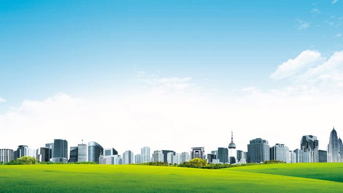 三张蓝天白云城市建筑PPT背景图片
