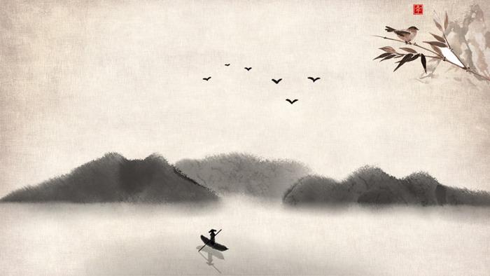 四张古典水墨中国风幻灯片背景图片