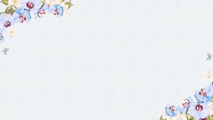 三张艺术手绘水彩花卉PPT背景图片