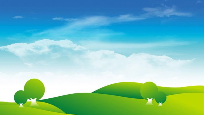 四张卡通蓝天白云草地PPT背景图片