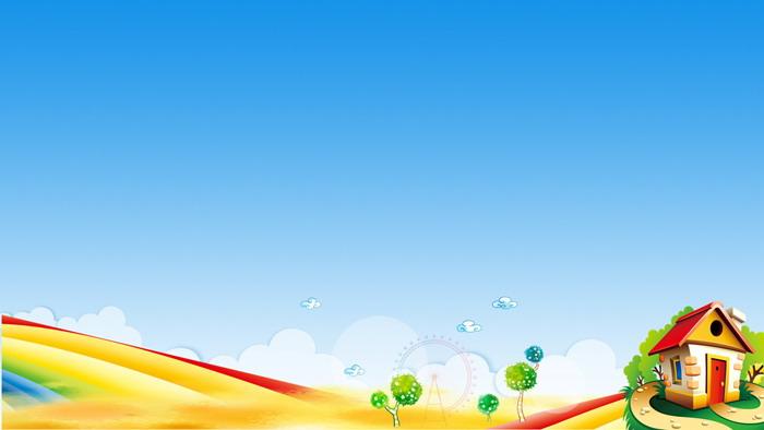 五張可愛卡通彩虹房子ppt背景圖片 - 第一ppt