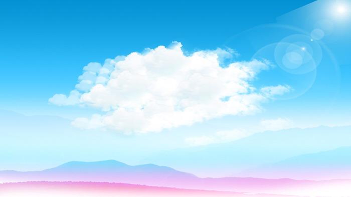 蓝天白云远山PPT背景图片