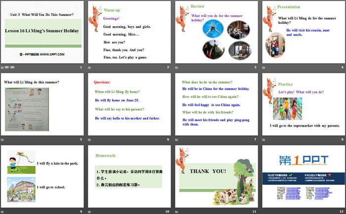 《Li Ming\s Summer Holiday》What Will You Do This Summer? PPT