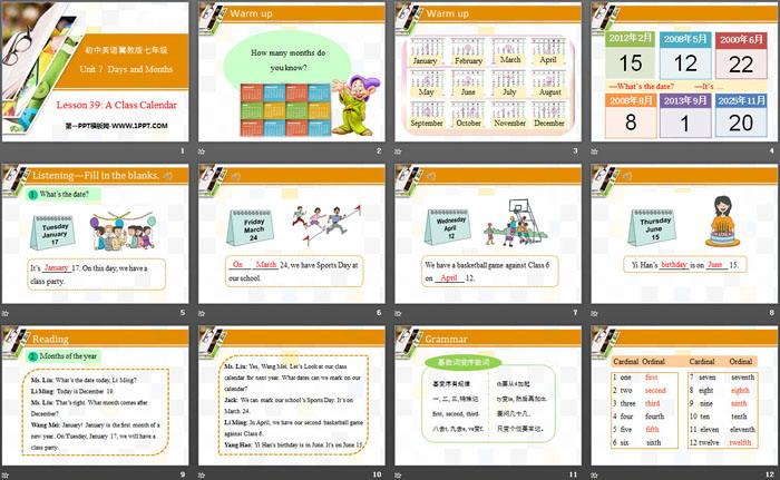 《A Class Calendar》Days and Months PPT课件