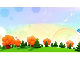 三张彩色卡通树林PPT背景图片