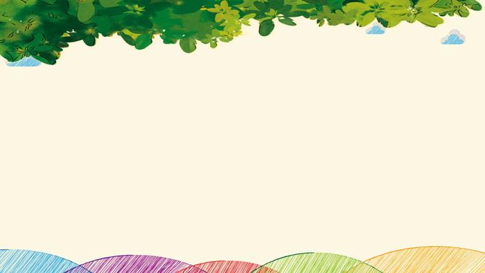 关键词:彩色手绘幻灯片背景图片,卡通太阳,云朵,绿叶,草地powerpoint