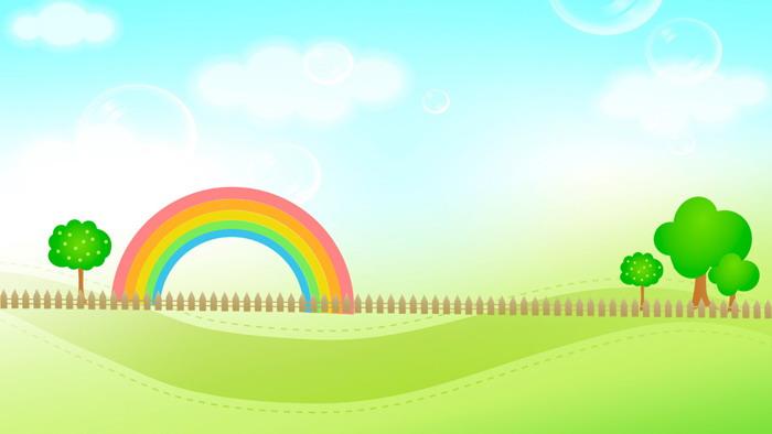 张清新卡通幻灯片背景图片  关键词:绿色卡通ppt不叫他,蓝天白云,彩虹图片