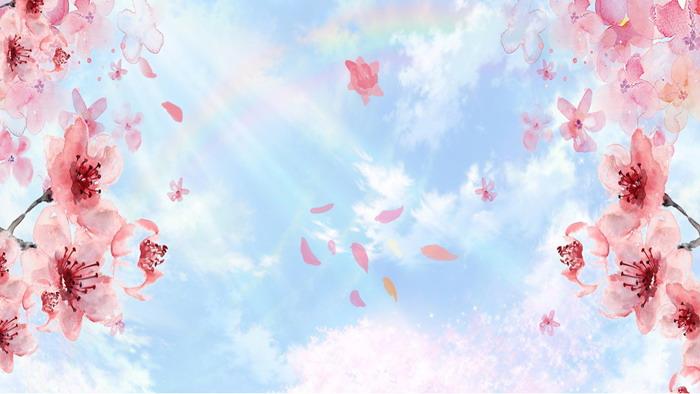 唯美风格的水彩手绘樱花PPT背景图片