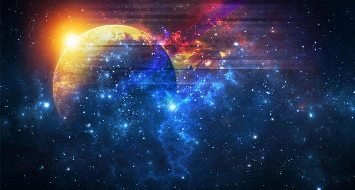 唯美宇宙星球PPT背景图片