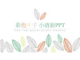 彩色简洁清新叶子图案PPT模板