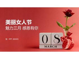 清新玫瑰背景的三八妇女节PPT模板