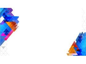 六��彩色多�形PPT背景�D片
