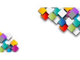 三��彩色�影方形PPT背景�D片
