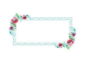 水彩花卉边框PPT背景图片