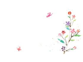 彩色水彩植物蝴蝶PPT背景�D片