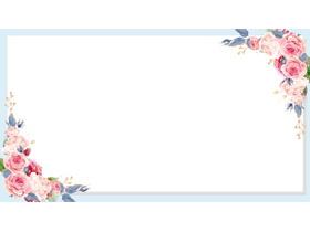 四��淡雅水彩花卉PPT�框背景�D片