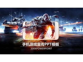 科幻战争主题的手机游戏宣传PPT模板