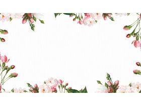 清新韩范植物花卉PPT边框背景图片