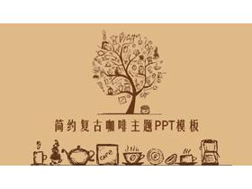 棕色复古手绘咖啡主题PPT模板