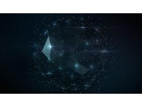 五张蓝色点线粒子科技PPT背景图片