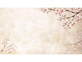 八��唯美水彩花卉PPT背景�D片