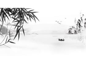 这是五张水墨竹子PPT背景图片