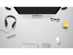 八张电脑办公桌面PPT背景图片