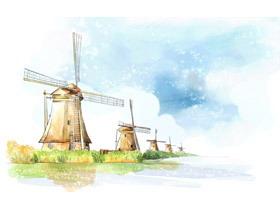 六张卡通水彩城堡风车PPT背景图片
