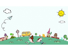七张可爱卡通PPT背景图片
