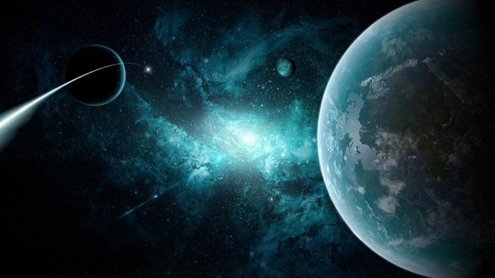 精美星空星球PPT背景图片