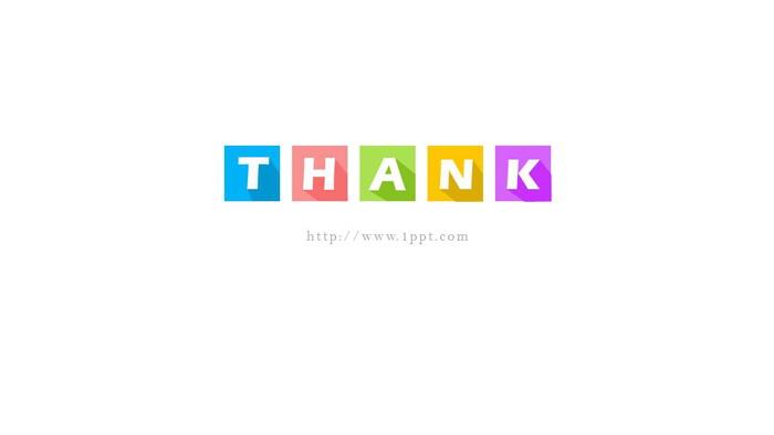 三张彩色方框thanks谢谢观看PPT背景图片