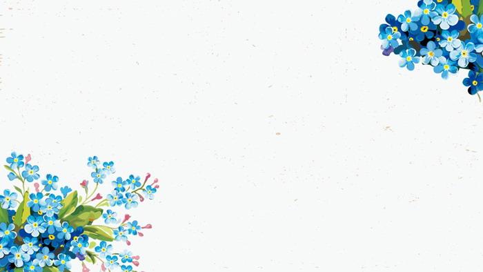 五张唯美水彩花卉绿叶PPT背景图片
