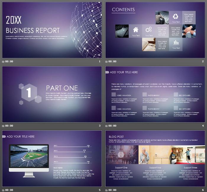 紫色iOS风格的欧美科技PPT模板