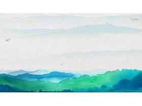 绿色水墨群山幻灯片背景图片