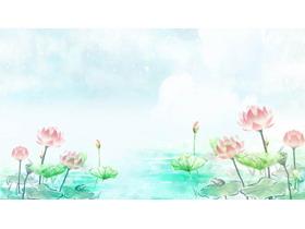 盛夏碧绿荷花PPT背景图片