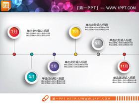 彩色微立体时间轴PPT
