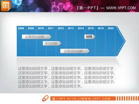 蓝色实用年代记事PPT时间轴