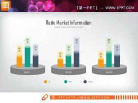 三数据对比的彩色PPT柱状图