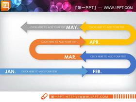 三张彩色迂回样式的PPT时间线
